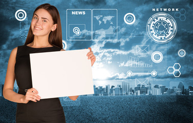 Businesswoman hold paper sheet. Virtual elements and city