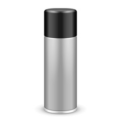 Gray Aerosol Spray Metal Bottle Can With Lid Cap