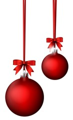 christmas balls with  ribbon decoration