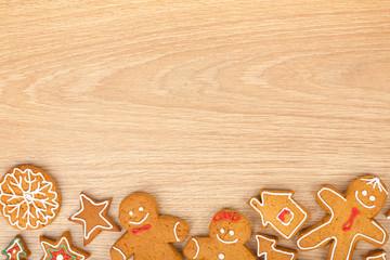 Homemade various christmas gingerbread cookies