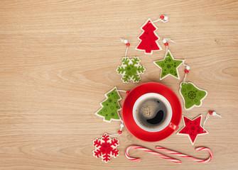 Christmas decor and coffee cup