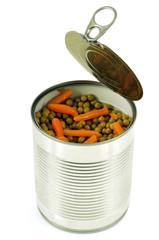 Boîte de petits pois et carottes