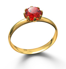 Gold ring with ruby gemstone isolated on white