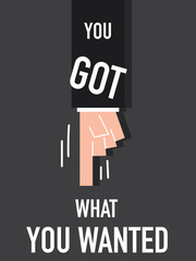 Word YOU GOT WHAT YOU WANT vector illustration
