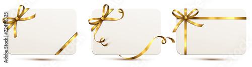 Karten Set mit Schleife - Gold