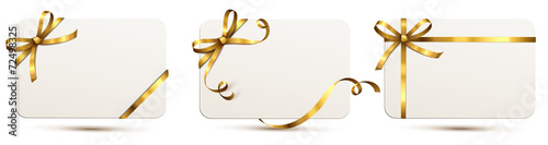 Fototapeta Karten Set mit Schleife - Gold