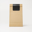 Brown recyclable paper bag with black sticker - 72498502