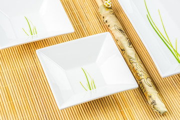 sushi set on a bamboo placemat