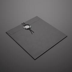Black square envelope on dark background