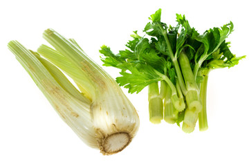 Organic fresh celery isolated on white background