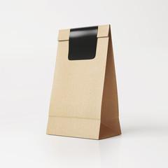 Brown vintage  paper bag with black sticker