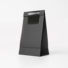 Black paper bag with black sticker
