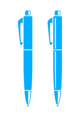 Blue ballpoint icon on white background