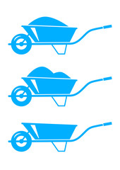 Blue wheelbarrow icons on white background