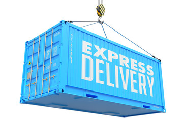 Express Delivery - Red Hanging Cargo Container.