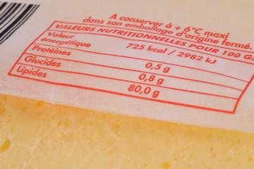 Valeurs nutritionnelles du beurre