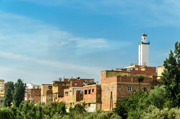Blick auf Medina und Minarett in Fes