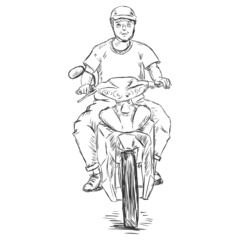 Vector Sketch Man on a Motorbike