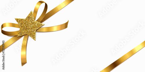 Goldene Schleife mit Glitter-Stern - 72500943