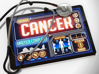 Cancer on the Display of Medical Tablet.