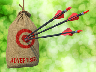 Advertising - Arrows Hit in Red Target.