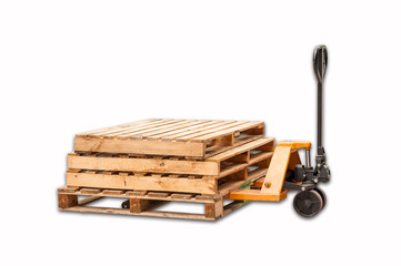 A fork pallet truck stacker with stack of wooden pallets