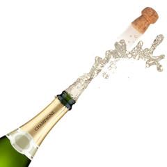 Champagne bottle explosion.