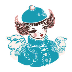 Girl aries. A symbol of Year 2015