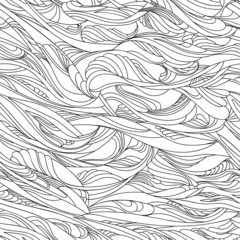 Vector seamless hand drawn pattern, wavy lines