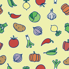 Seamless pattern with different cartoon vegetables