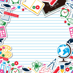 Lined Paper Background - School theme. Colorful cartoon objects