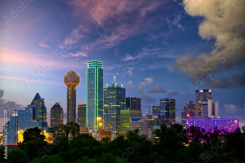 Poster Stad gebouw Dallas City skyline at dusk, Texas, USA