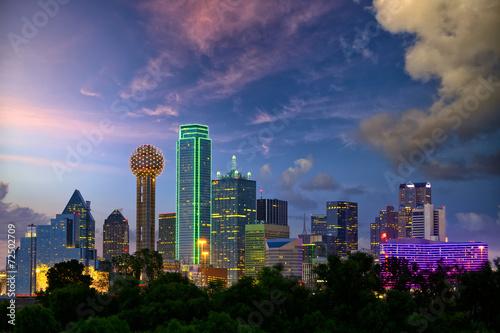Plagát Dallas City skyline at dusk, Texas, USA