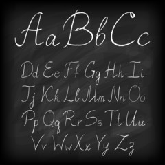 Chalk board hand drawn alphabet