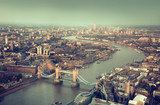 Fototapeta London aerial view with  Tower Bridge in sunset time