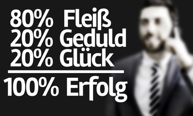 80% Assiduity 20% Patience 20% Luck = 100% Success (In German)