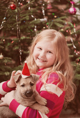 girl with little dog on background christmas tree