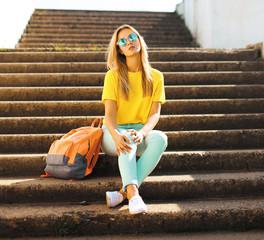 Fashion and people concept - lifestyle portrait stylish pretty g