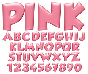 3d Light Pink big alphabets with numbers on white background