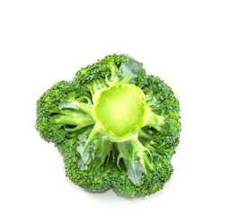 Closeup broccoli isolated on a white background