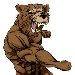 Mean bear sports mascot punching