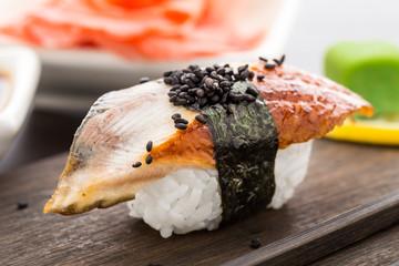 Nigiri sushi with smoked eel