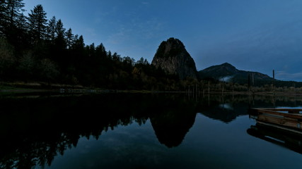 Beacon Rock State Park along Columbia River Gorge at Sunset
