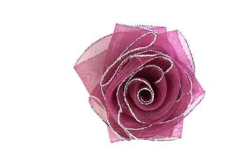 Розовый бант розочка