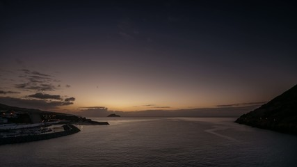 Sunrise viewed from Angra do Heroismo bay | 4K time lapse