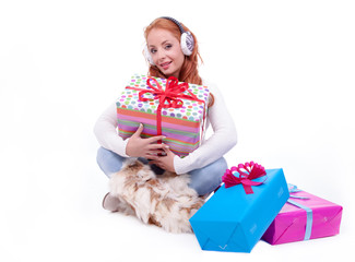 Woman surprised at receiving a gift