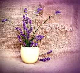 Lavender in yellow vase