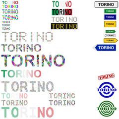 Torino (Turin) text design set