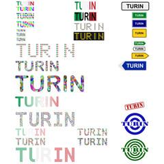 Turin (Torino) text design set