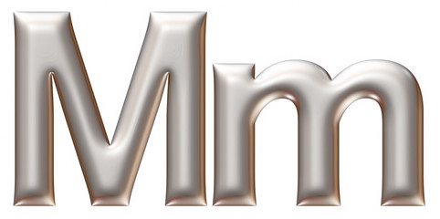 Letter M from silver alphabet on isolated white.